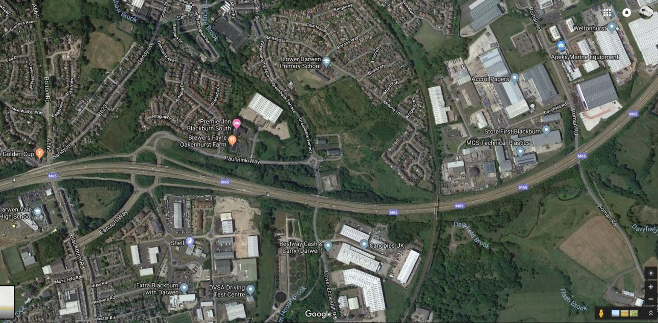 aerial and surrounding businesses mill bank google maps - Barnfield on